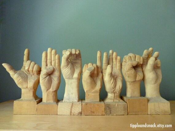 Folk Art Sign Language Vintage Carving