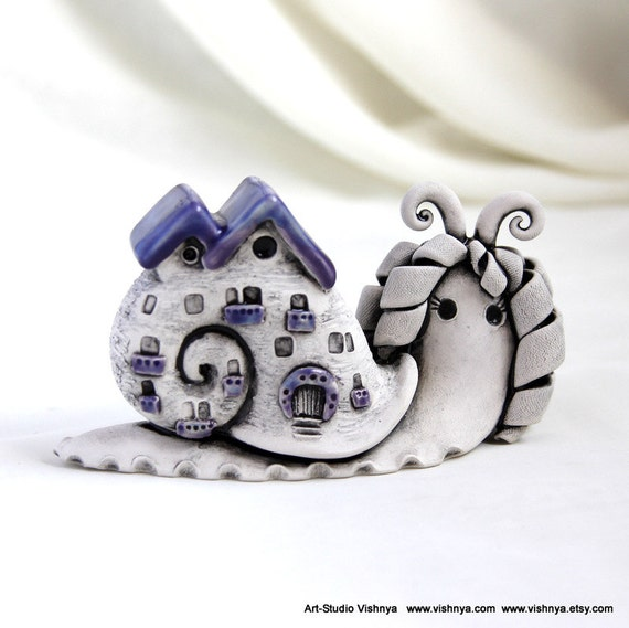 Purple Lavender Autumn snail by studio Vishnya