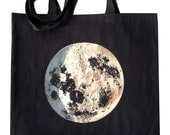 Black Silver Moon tote, eco-recycled fabric bag, metallic foil screenprint, very pretty in person, luna - alittlelark