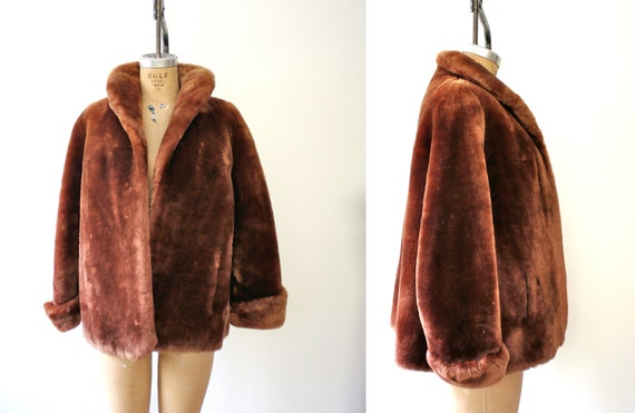 1950s coat / mouton fur / Chestnut Swing coat