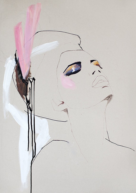 Fashion illustration, acrylic painting, girl, cream, pink, makeup