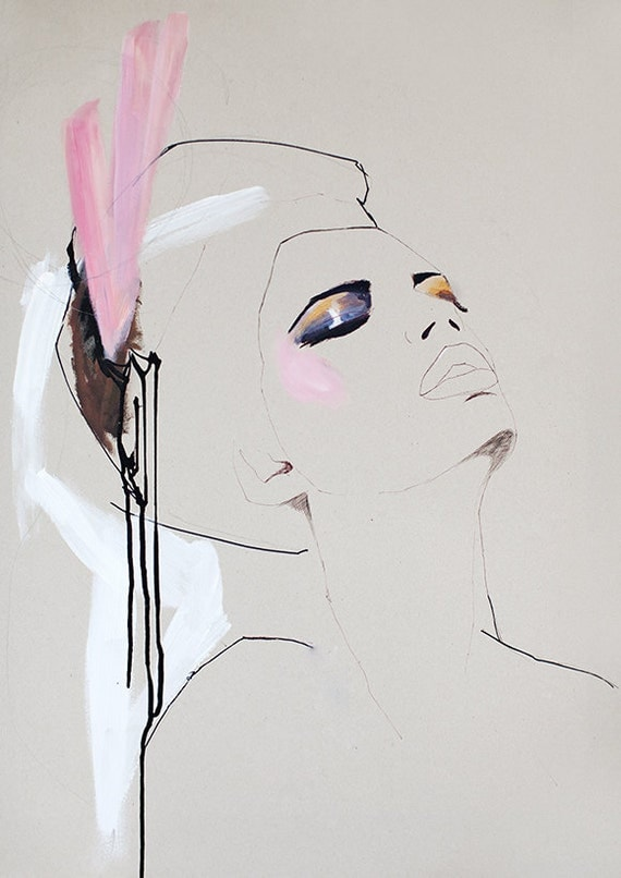 Fashion illustration, acrylic painting, girl, cream, pink, makeup