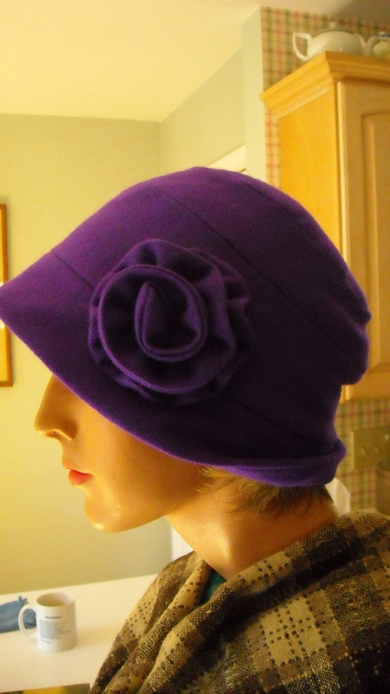 Cloche Hat Violet Purple Wool Women