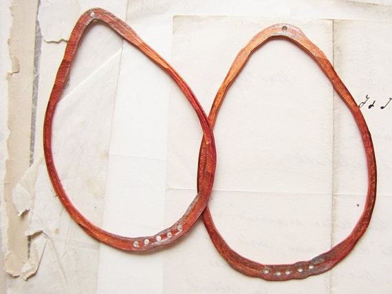 large handmade hoop findings - hammered reclaimed orange metal - earring supply - sparrow salvage studio - 1 pair