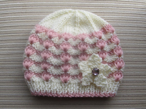 Number 84  Knitting Pattern White and Pink Hat in Sizes  12 months and 2-4 years