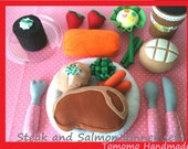 ETSY Pretend food - Play food - Felt food  Delax Dinner set  ( Steak and Salmon ) - TomomoHandmade