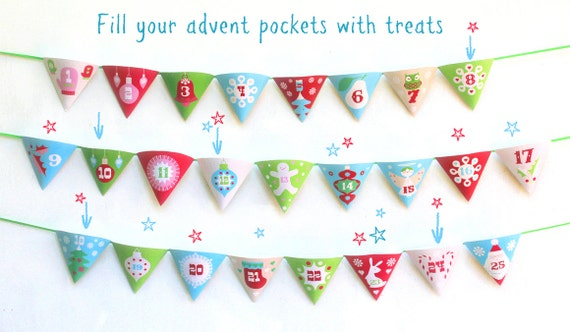 Christmas Advent calendar garland printable template