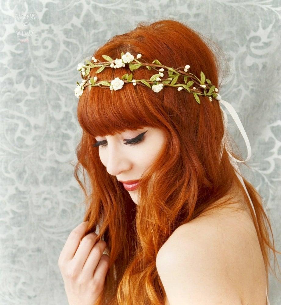 Bridal Flower Wreath For Hair : Boho bridal crown flower hair wreath woodland headpiece