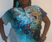 Lola - Posh N Petals Ombre Blue Turquoise Gold Metallic Charmeuse Silk  Blouse - XL-1X  Plus Size