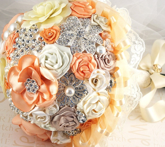 Brooch Bouquet Bridal Bouquet Jeweled Wedding Bouquet in Peach, Cream and Coral