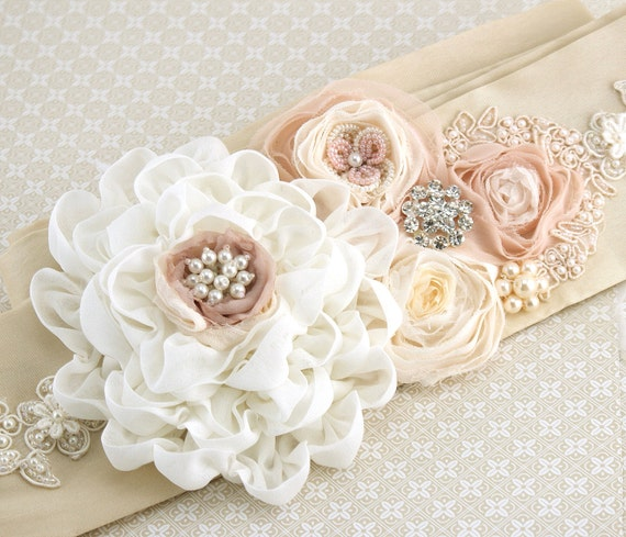 Bridal Sash in Ivory, Champagne, Cream and Blush Pink with Chiffon, Dupioni Silk, Pearls and Jewels- Pearl Dream