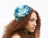 Turquoise Rose Silver Elastic Headband with Leaves - neesiedesigns