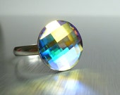 Crystal Opal Ring - Swarovski crystal adjustable silver plated band - round cocktail clear facet cut with AB finish sparkle - ConstantBaubling