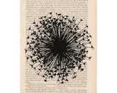 dictionary art vintage big DANDELION no. 3 floral print - vintage art book page print - dandelion flower blowing in the wind - ExLibrisJournals