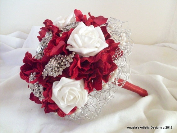 Red Brooch Bouquet, Valentine's Day Wedding, alternative, non traditional