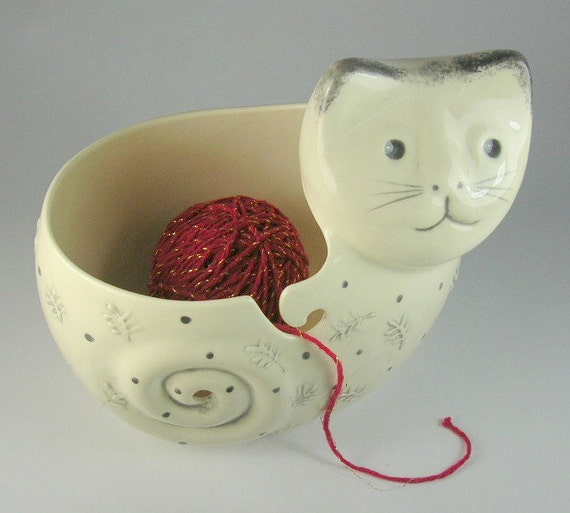 cat planter or yarn bowl