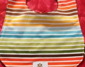 Rainbow Stripe Bib Ready to Ship - torilynn817