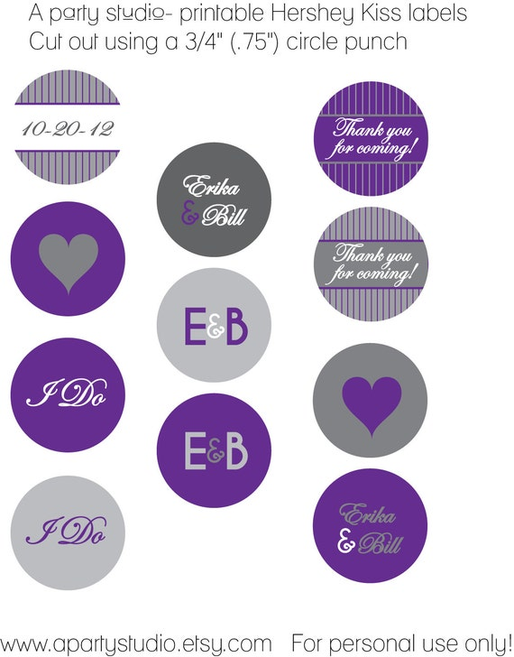 Wedding Favor- Personalized Hershey Kiss Labels in Purple and Grey- Print your own