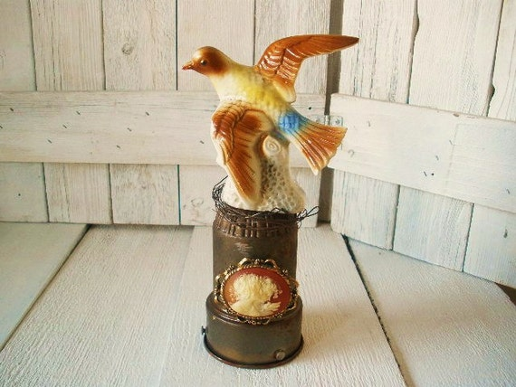 Vintage bird figurine upcycled assemblage cameo