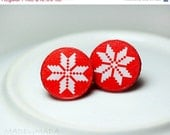 SALE Nordic sweater Post Earrings Christmas Jewelry red white, Gift for her under 15 - MADEbyMADA
