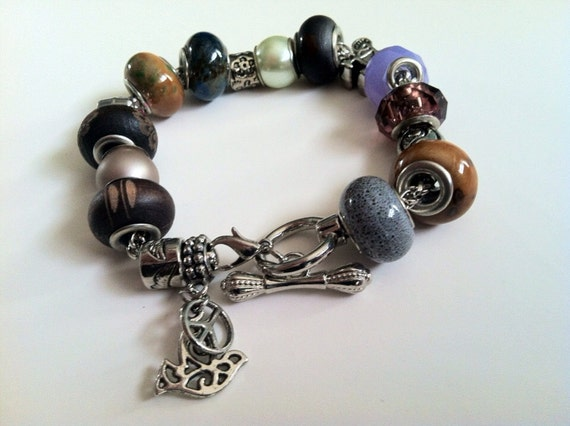 Peace Bracelet Dove & Peace Sign Charm