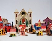 MId Century Christmas Village, Vintage Japanese Christmas Ornaments, 1950's Paper Houses, Gift For Wife, Miniature Houses - TheNewtonLabel