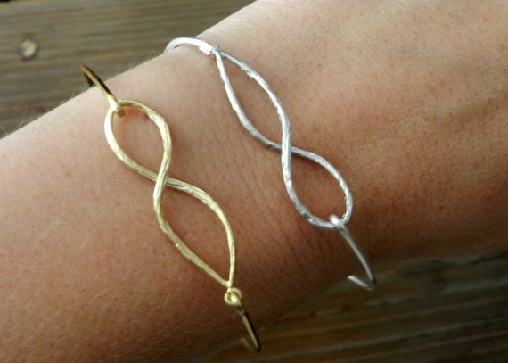 One infinity bangle. Silver OR gold.