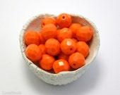 Large Bright Orange Czech Fire Polished Beads 10mm (10) Opaque Polish Faceted Glass Round Big - LaserBeads