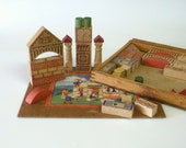Vintage Building Blocks, Gnome Building Blocks, Decorated Building Blocks - RescuedInTime