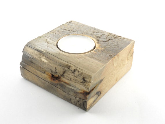 Rustic Wood Tealight Holder, Industrial Tealight, Reclamed Wood Tealight,  Pallet Tealight Holder