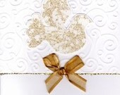 Fabric Dove Embossed Christmas card