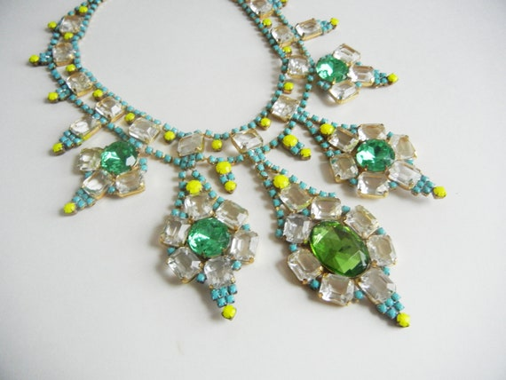 The Gemma Necklace - OOAK - Vintage 1950s Hand Painted Turquoise Green and Yellow Rhinestone Bib Necklace