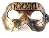 2013 New Year's Eve Mask: Roman Numerals Mask, New Year's Costume, Polymer Clay Vegan Leather, MMXIII, Black and Gold - WingsOfClay