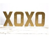As Seen In BETTER HOMES and GARDENS Magazine - Metallic Gold Letters  xoxo 8 inches tall - FleaMarketSunday