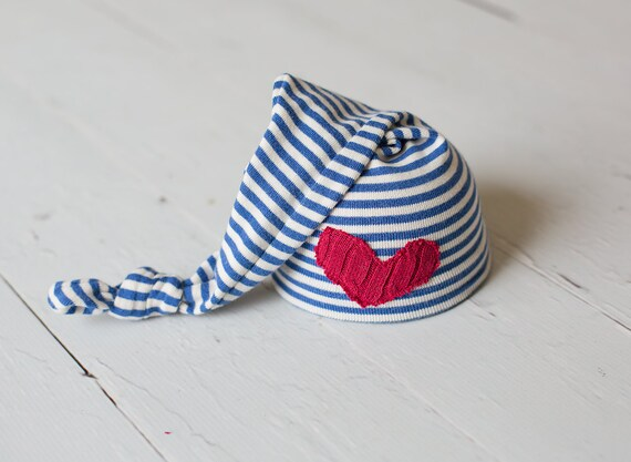 Newborn Hats Upcycled Red White and Blue Nautical Patriotic Hat with Heart Patch Photography Prop