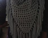 Crochet Triangular Fringed Neck Scarf