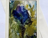 ORIGINAL Encaustic Floral Art Card  CANCERRESEARCHDONATION STUDIOSABINE