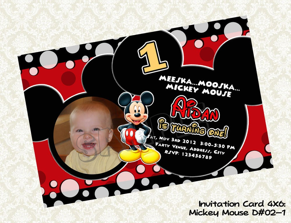 pin mickey mouse invitation photo birthday card cake on pinterest