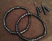 Hematite bracelet and earring set
