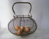 Antique French Large Egg BASKET - GrisSourisBrocante