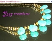 SALE 10% Off Turquoise green blue tear drop gold bead brass colour chain necklace chunky jewelry gift