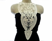 Handmade Cotton Lace Collar, necklace - Woman Accessories - Cream Color -Big Necklace- Woman Applique - OOAK