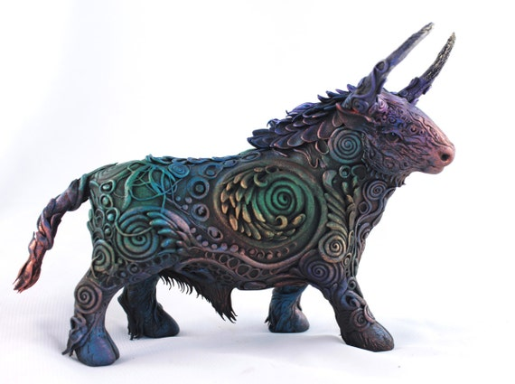 Fairy Bull figure, statue Ox, black Taurus ornamental, gift for men, Zodiac, Oriental horoscope