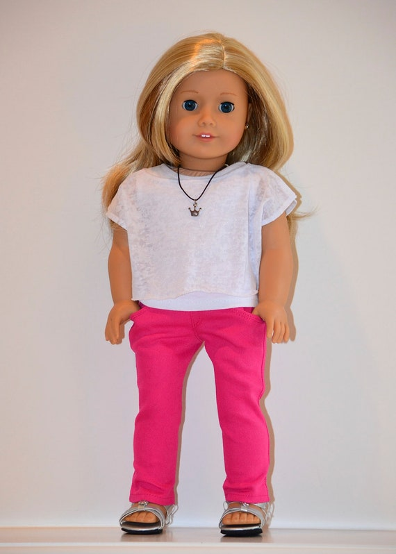 18 inch, American Girl  Doll Clothing. Skinny jeans and knit top ensemble.