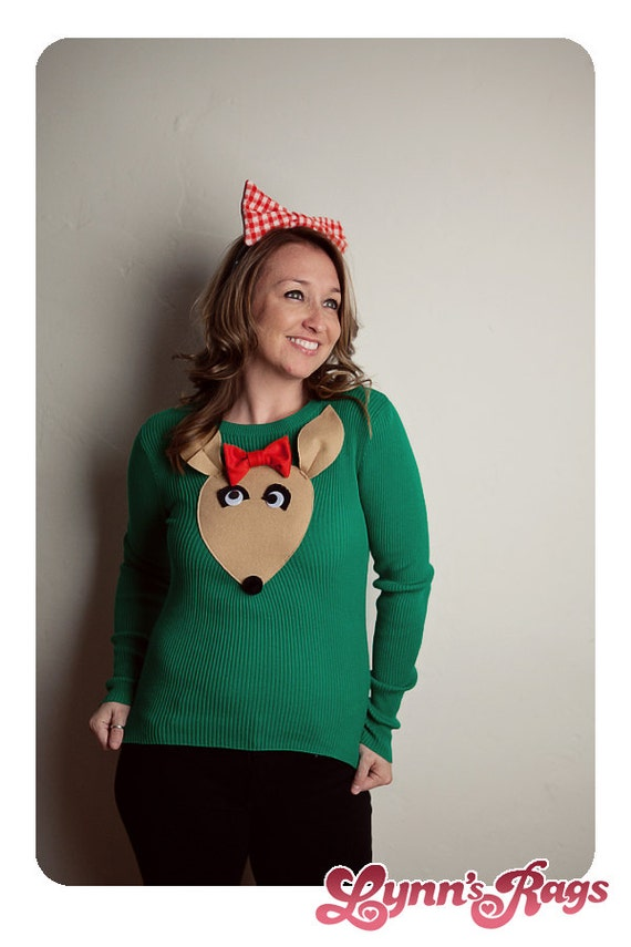 Green REINDEER Sweater BOW Handmade Clarice Ugly Christmas Sweater Party SMALL