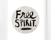 Free Spirit  - Boho style 8x10 inch on A4 type poster Print in Natural Brown, White and Black - theloveshop