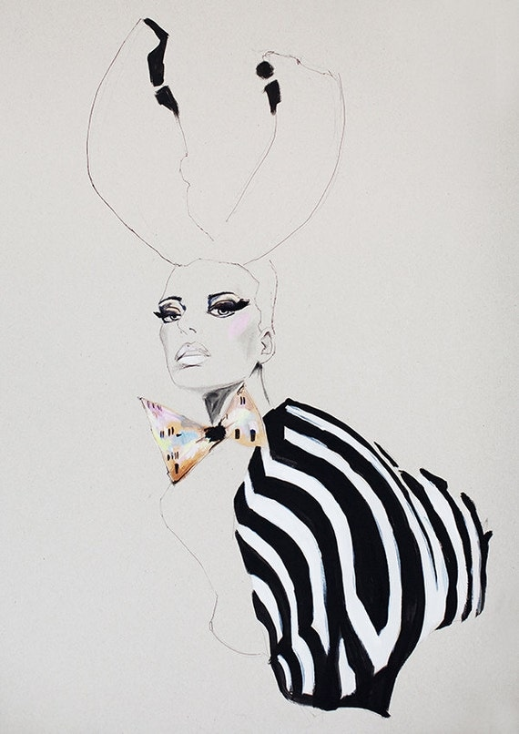 Fashion illustration, acrylic painting, girl with antlers, zebra print, makeup, black and white, dickie bow