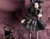 OOAK child spooky witch with toys 1/12th scale