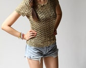 vintage 1980s top / 80s chevron top / Lydia Gold Chevron Top - TwistedMoss