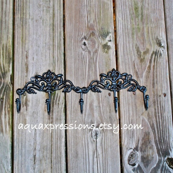 Wall Hook Rack /Black /Jewelry/ Key Holder/ Bath by AquaXpressions